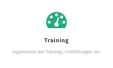Training: Organisation des Trainings, Fortbildungen, etc.